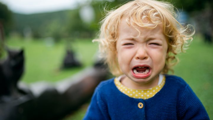 Front view portrait of small girl outdoors in garden, crying.