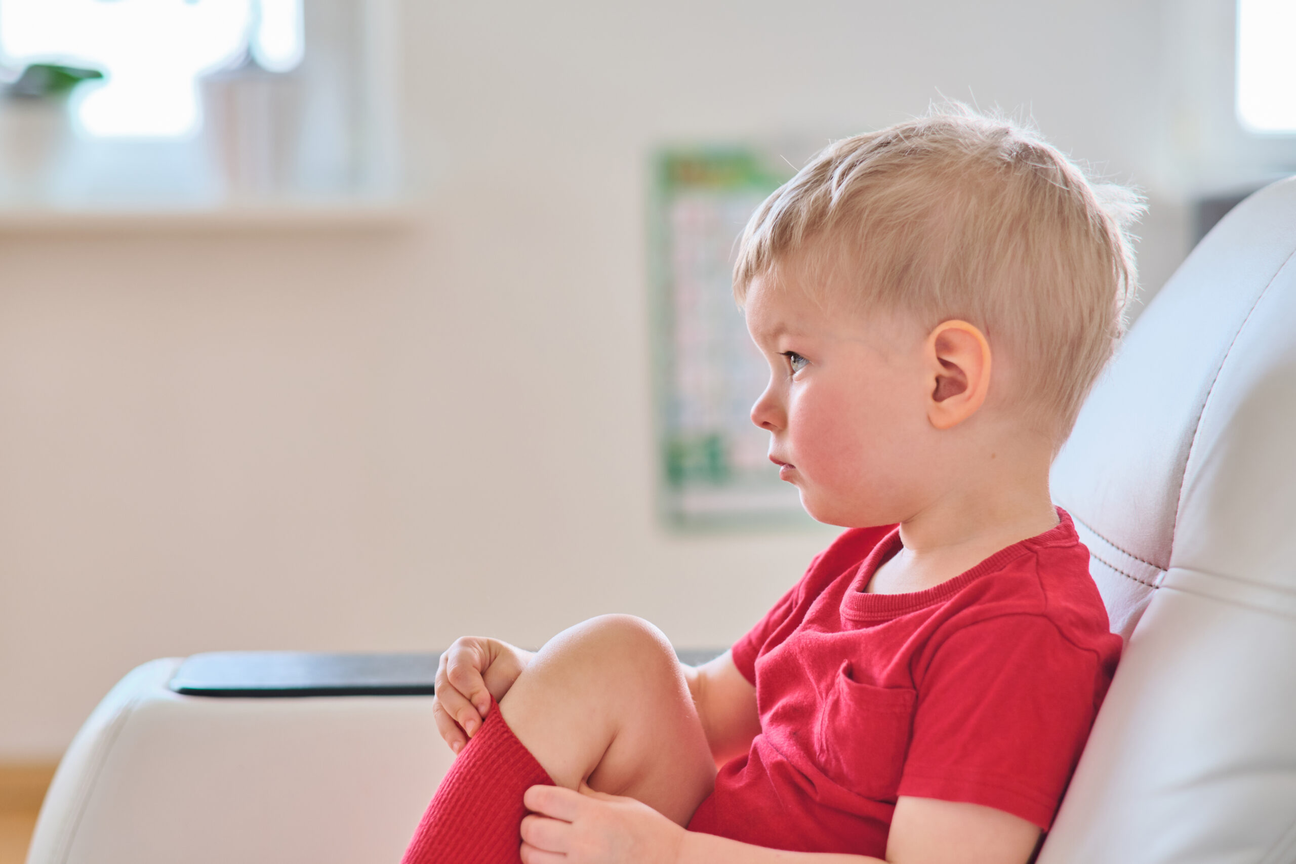 Two year old boy watching tv